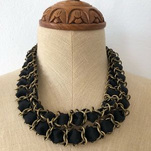 Chunky Chain and Ribbon Necklace